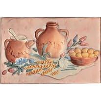 Decoro formella country cocci rosa L 20 x H 30 cm