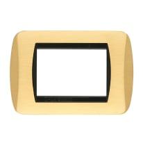 Placca CAL 3 moduli ottone satinato compatibile con living international
