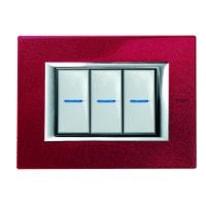 Placca BTICINO Axolute 3 moduli rosso china