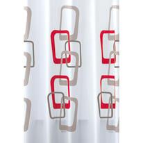 Tenda doccia Quadri 60 in vinile rosso L 180 x H 200 cm