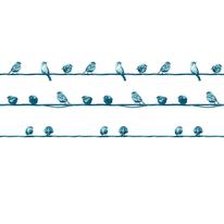 Tenda doccia Birdes in vinile blu L 240 x H 200 cm