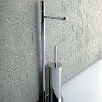 Piantana porta rotolo e porta scopino wc Pratica cromo lucido