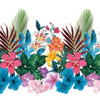 Tenda doccia Tropical in poliestere multicolor L 240 x H 200 cm