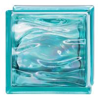 Vetromattone blu ondulato H 19 x L 19 x Sp 8 cm