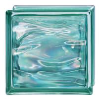 Vetromattone verde ondulato Agua Perla H 19 x L 19 x Sp 8 cm 6 pezzi