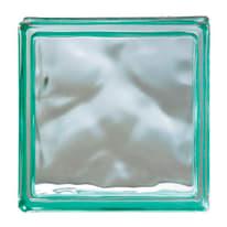 Vetromattone verde ondulato H 19 x L 19 x Sp 8 cm