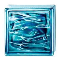 Vetromattone blu ondulato Ultramar H 19 x L 19 x Sp 8 cm 6 pezzi