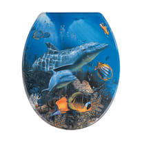 Copriwater ovale Sea Life blu