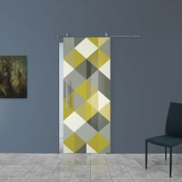 Porta scorrevole con binario esterno Carpet 5 in vetro Kit Ermes L 88 x H 215 cm dx