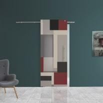 Porta scorrevole con binario esterno Carpet 1 in vetro Kit B L 88 x H 220 cm sx