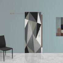 Porta scorrevole con binario esterno Carpet 3 in vetro Kit B L 88 x H 220 cm sx