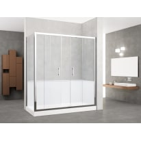 Box doccia rettangolare scorrevole 160 x 70 cm, H 190 cm in vetro temprato, spessore 6 mm trasparente grigio