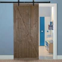 Porta scorrevole con binario esterno Range in legno grezzo L 96 x H 270 cm
