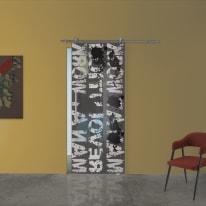 Porta scorrevole con binario esterno Carpet 2 in vetro Kit Ermes L 88 x H 215 cm dx