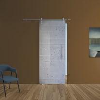Porta scorrevole con binario esterno Cemento in vetro Kit Ermes L 88 x H 215 cm sx