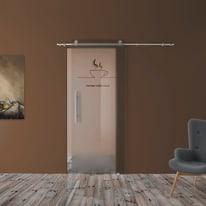 Porta scorrevole con binario esterno Coffee House in vetro Kit B L 88 x H 220 cm dx