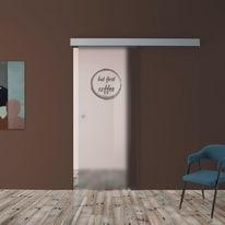 Porta scorrevole con binario esterno Coffee in vetro Kit A L 88 x H 215 cm dx