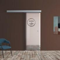 Porta scorrevole con binario esterno Coffee in vetro Kit A L 88 x H 215 cm sx