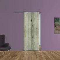 Porta scorrevole con binario esterno Dogato in vetro Kit Lux L 88 x H 215 cm sx