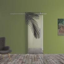 Porta scorrevole con binario esterno Kenzia in vetro Kit B L 88 x H 220 cm sx