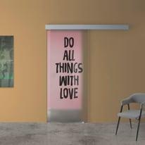 Porta scorrevole con binario esterno Love in vetro Kit A L 88 x H 215 cm dx