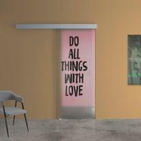 Porta scorrevole con binario esterno Love in vetro Kit A L 88 x H 215 cm sx