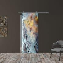 Porta scorrevole con binario esterno Ossido in vetro Kit Ermes L 88 x H 215 cm dx