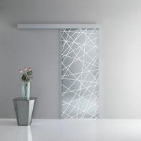 Porta scorrevole con binario esterno Perseide in vetro Kit A L 96 x H 215 cm