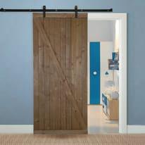 Porta scorrevole con binario esterno Range in legno grezzo L 96 x H 220 cm