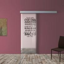 Porta scorrevole con binario esterno Regole Cucina in vetro Kit A L 88 x H 215 cm dx