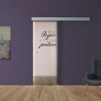 Porta scorrevole con binario esterno Sogno in vetro Kit A L 88 x H 215 cm dx