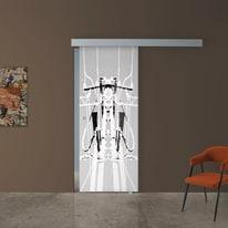 Porta scorrevole con binario esterno Tesla 1 in vetro Kit A L 88 x H 215 cm dx