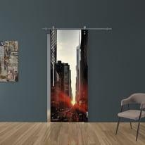 Porta scorrevole con binario esterno Urban in vetro Kit Ermes L 88 x H 215 cm dx
