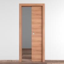 Porta scorrevole a scomparsa Degas noce L 70 x H 210 cm reversibile