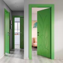 Porta a battente Blades Green verde L 80 x H 210 cm destra