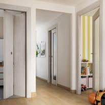 Porta scorrevole a scomparsa Brooklyn Vetro frassino bianco L 80 x H 210 cm reversibile