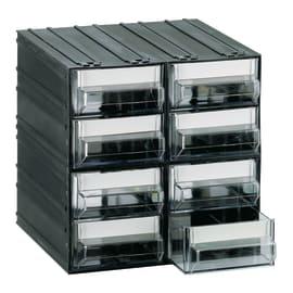 Cassettiera porta minuterie con 8 cassetti, colore nero/trasparente