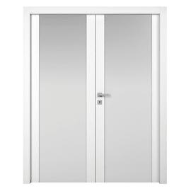 Porta da interno battente Plaza 2 Ante Frassino Bianco 140 x H 210 cm dx