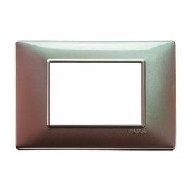 Placca 3 moduli Vimar Plana marrone micalizzato