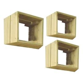 Set 3 cubi abete, sp 35 cm
