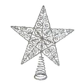 Puntale stella 5 punte argento ø 30 cm