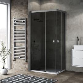 Box doccia scorrevole Neo 67-69 x 87-89, H 200 cm vetro temperato 6 mm fumè/silver
