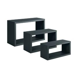 Set 3 rettangoli Spaceo nero, sp 1,8 cm