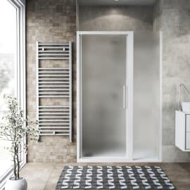 Porta doccia scorrevole Record 67-71 x 77-81, H 195 cm cristallo 6 mm satinato/bianco opaco