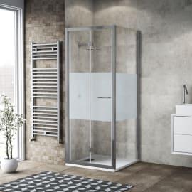 Doccia con porta pieghevole e lato fisso Record 67 - 71 x 77 - 79 cm, H 195 cm vetro temperato 6 mm serigrafato/silver lucido