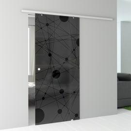 Porta da interno scorrevole Euclide Fumè 96 x H 215 cm reversibile