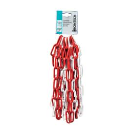 Catena genovese lunga saldata in acciaio lucida Ø filo 5 mm x 5 m, bianca/rossa
