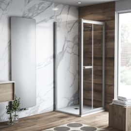 Doccia con porta pieghevole e lato fisso Namara 75 - 80 x 77.5 - 79,5 cm, H 195 cm cristallo 8 mm trasparente/silver