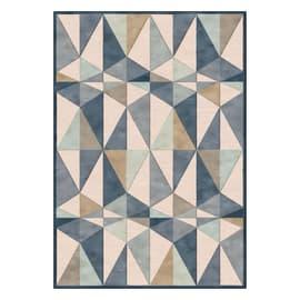 Tappeto Farashe triangoli azzurro, beige, blu 160 x 230 cm