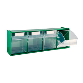 Cassettiera porta minuterie MAD4.VE con 4 cassetti, colore verde/trasparente